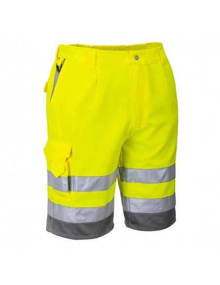 Portwest-Short de travail pro haute visibilité polycoton Jaune/Gris