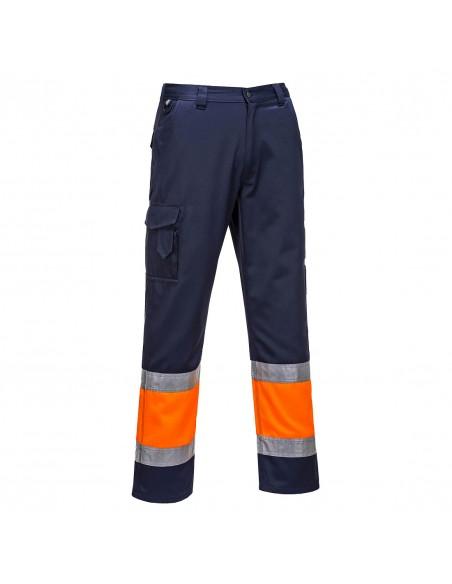 Portwest-Pantalon de travail style combat haute visibilité Bicolore Orange/Marine