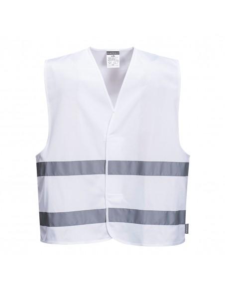 Portwest Gilet de sécurité professionnel avec bandes auto-agrippantes Blanc