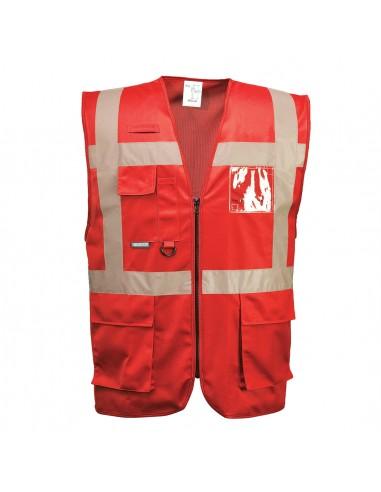 Portwest Gilet de travail pro avec un porte badge à double entrée Rouge