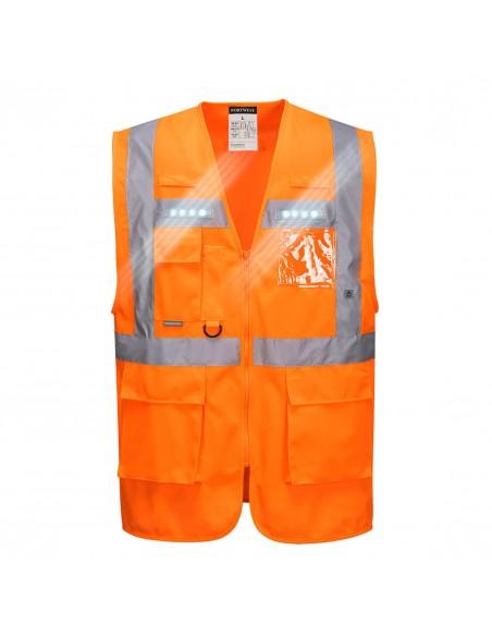 Gilet haute visibilité à LED avec porte-badge transparent Executive Orion Orange