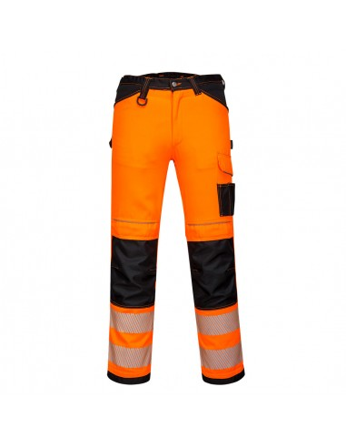 Portwest-Pantalon pro haute visibilité + Paire de genouillères offerte Orange/Noir