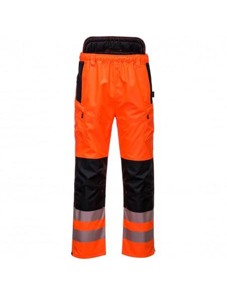 Portwest-Pantalon pro extrême haute visibilité imperméable coupe slim PW3 Orange/Noir
