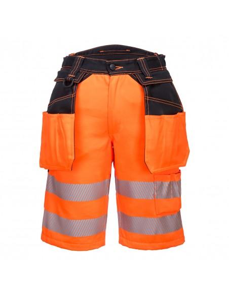 Portwest-Bermuda de travail haute visibilité avec poches détachables Orange/Noir