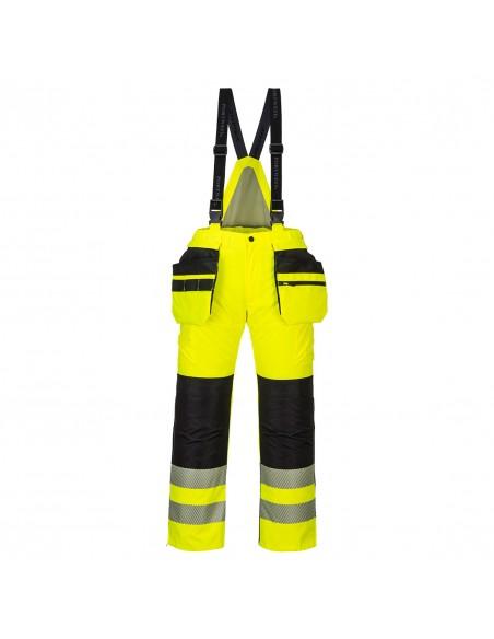 Portwest-Pantalon de travail haute visibilité avec bavette hiver PW3 Jaune/Noir