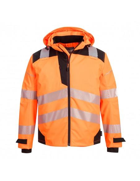 Portwest-Veste haute visibilité imperméable capuche détachable Extreme PW3 Orange/Noir