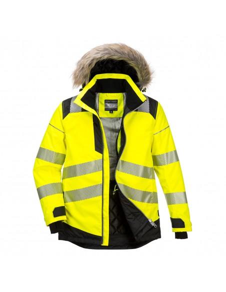 Portwest-Parka hiver de travail haute visibilité professionnelle PW3 Jaune/Noir