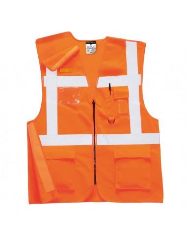 Portwest-Gilet haute visibilité de travail Executive Rail RIS Orange