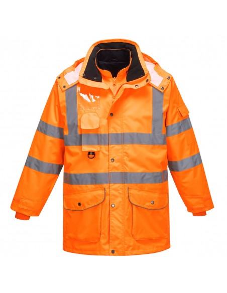 Portwest-Parka de sécurité haute visibilité étanche Traffic 7en1 RIS Orange