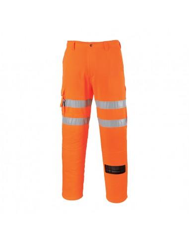 Portwest-Pantalon de travail haute visibilité style Rail Combat Orange