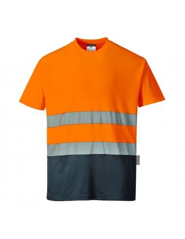 Portwest-T-shirt haute visibilité tissu respirant absorbant l'humidité Orange/Marine
