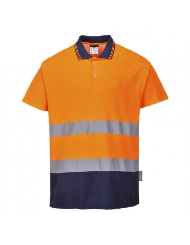 Portwest-Polo haute visibilité bicolore tissu absorbant l'humidité Orange/Marine