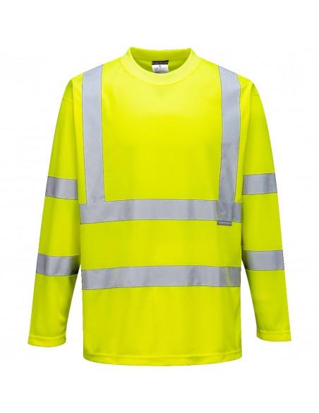 Portwest-T-shirt haute visibilité manches longues polyester respirant Jaune