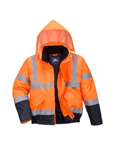 Portwest-Blouson haute visibilité style aviateur doublure matelassée Orange/Marine