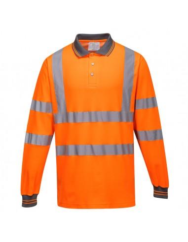 Portwest-Polo haute visibilité coton majoritaire manches longues Orange
