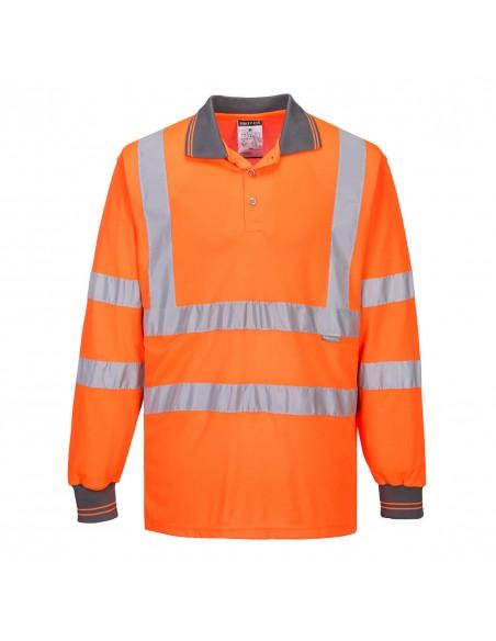Portwest-Polo pro haute visibilité de travail manches longues Orange