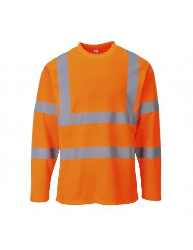 Portwest-T-Shirt haute visibilité de travail manches longues confortable Orange