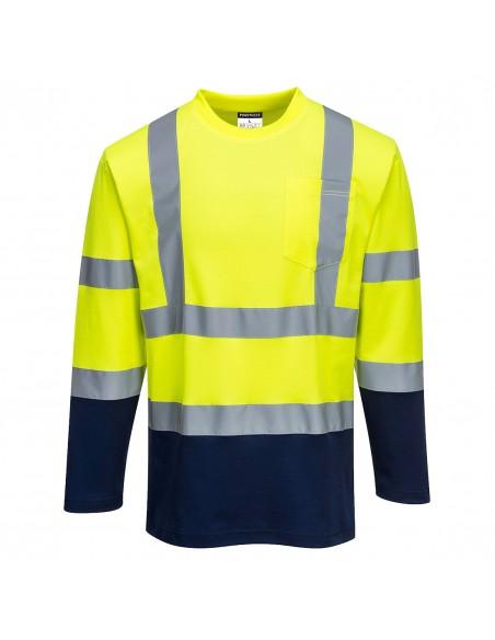 Portwest-T-Shirt haute visibilité coton confort manches longues Jaune/Marine