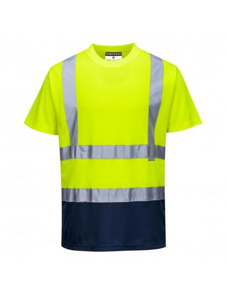 Portwest-T-shirt bicolore haute visibilité de travail tissu respirant-S378 Jaune/Marine