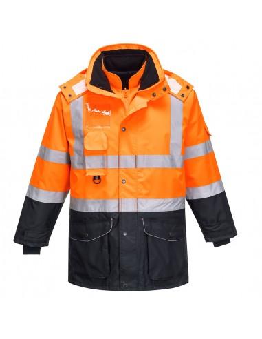 Portwest-Parka haute visibilité 7en1 avec veste réversible détachable Orange/Marine