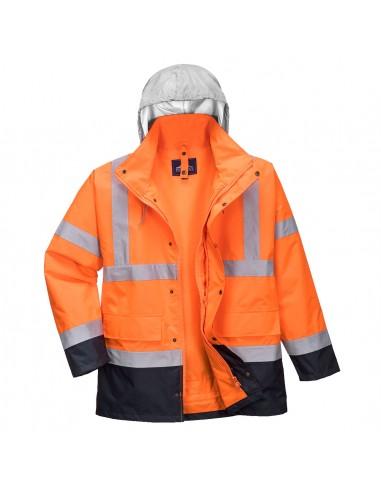 Portwest-Parka haute visibilité pro contrastée 4 en 1 réversible Orange/Marine
