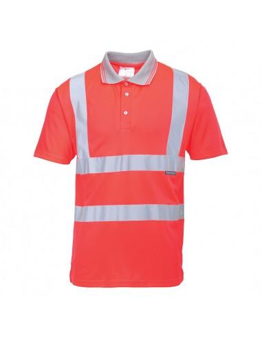 Portwest-Polo pro haute visibilité manches courtes de haute qualité Rouge
