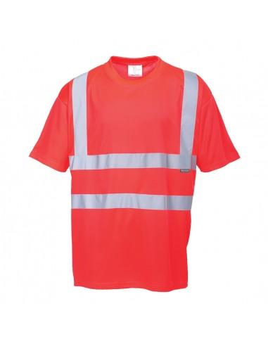 Portwest-T-Shirt haute visibilité de travail parfait été très chaud Rouge