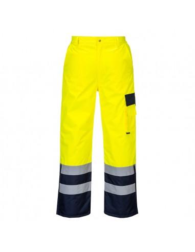 Portwest-Pantalon doublé haute visibilité imperméable froid extrême Jaune/Marine