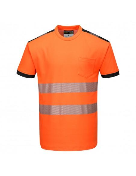 Portwest-T-Shirt haute visibilité de travail professionnel PW3 Orange/Noir