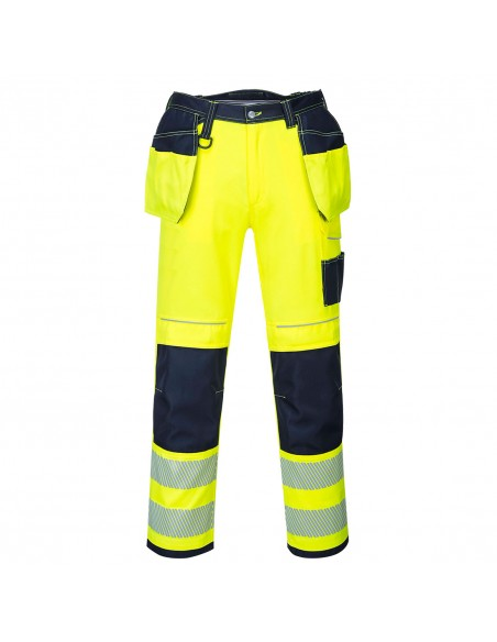 Portwest-Pantalon professionnel haute visibilité poches flottantes PW3 Jaune/Marine