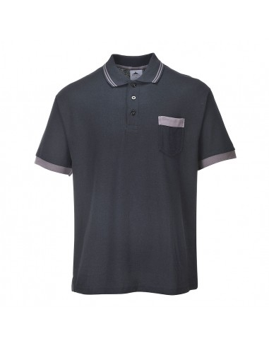 Portwest Polo de travail de haute qualité Texo Contrasté Noir
