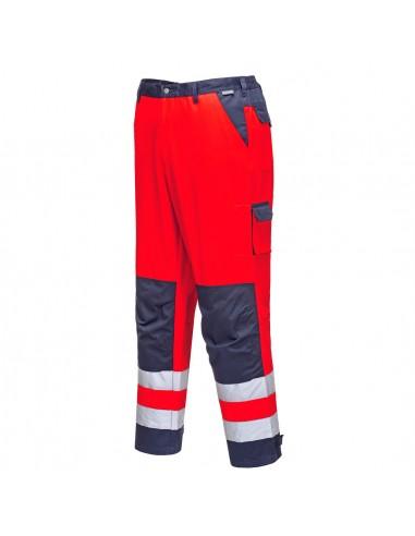 Portwest-Pantalon de travail haute visibilité stylé Lyon Rouge/Marine