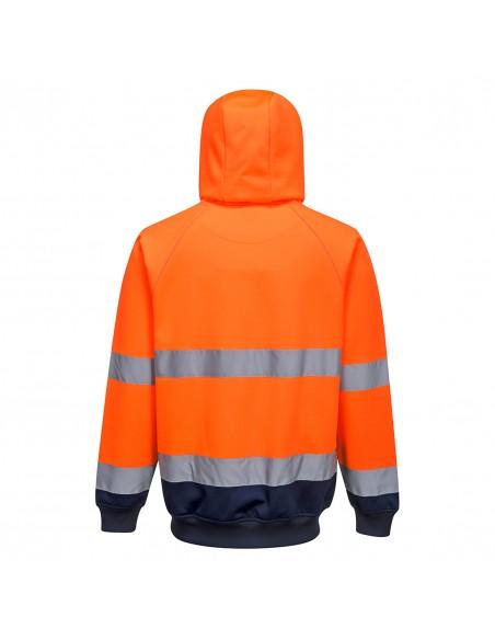 Portwest-Sweatshirt à capuche haute visibilité de travail bicolore-B316 Orange-Marine