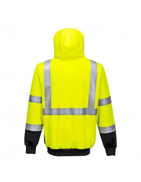 Portwest-Sweat de sécurité haute visibilité zippé à capuche réglable-B315 Jaune/Noir