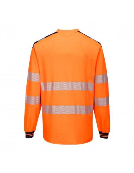 Portwest-T-Shirt de travail haute visibilité manches longues PW3 Orange/Noir