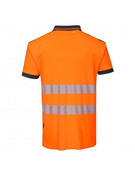 Portwest-Polo sans manche de travail haute visibilité pro PW3 Orange-Noir