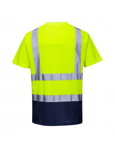 Portwest-T-shirt bicolore haute visibilité de travail tissu respirant Jaune/Marine
