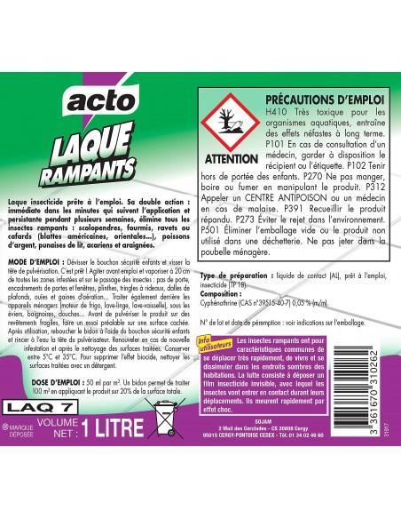 Acto Pulvérisateur laque insecticide anti-rampants double action 1L
