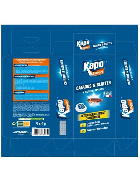 Kapo Étui de 4 boite à appât pour éradiquer cafards et blattes