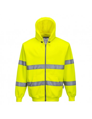 Portwest-Sweat haute visibilité de travail à capuche zippé stylé-B305 Jaune