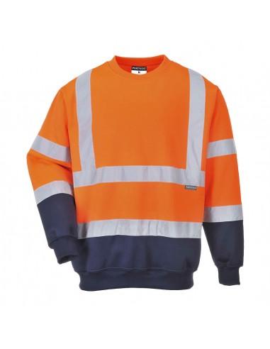 Portwest-Sweat bicolore de protection professionnel haute visibilité-B306 Orange/Noir