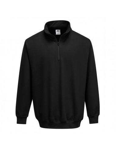 Portwest Sweatshirt de travail décontracté col zippé Sorrento Noir