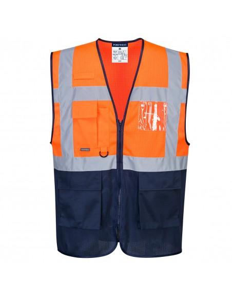 Portwest-Gilet haute visibilité protection chaleur bicolore Executive MeshAir Orange