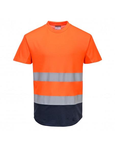 Portwest-Tee-shirt haute visibilité de travail Mesh bicolore Orange/Marine
