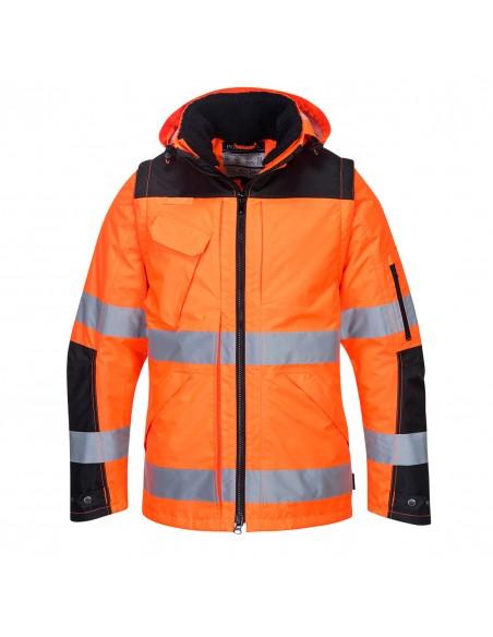 Portwest-Blouson pro haute visibilité imperméable manches amovibles Orange/Noir