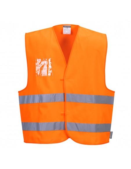 Portwest-Gilet haute visibilité avec porte-badge double entrée Orange
